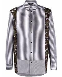 Chemise à manches longues à rayures verticales blanche et noire Versace