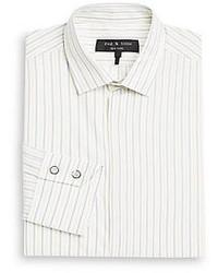 Chemise à manches longues à rayures verticales blanche