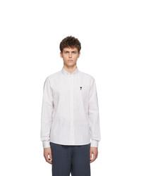Chemise à manches longues à rayures verticales blanche AMI Alexandre Mattiussi