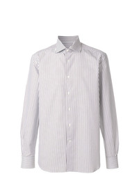 Chemise à manches longues à rayures verticales blanche Corneliani