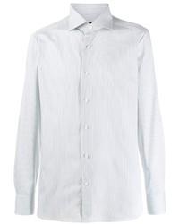 Chemise à manches longues à rayures verticales blanche Ermenegildo Zegna