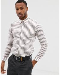 Chemise à manches longues à rayures verticales blanche Farah Smart