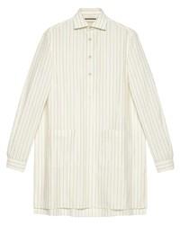 Chemise à manches longues à rayures verticales blanche Gucci