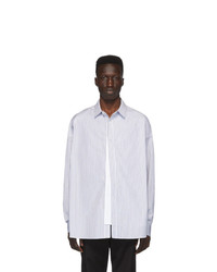 Chemise à manches longues à rayures verticales blanche Juun.J