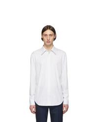 Chemise à manches longues à rayures verticales blanche Maison Margiela