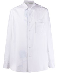 Chemise à manches longues à rayures verticales blanche Off-White