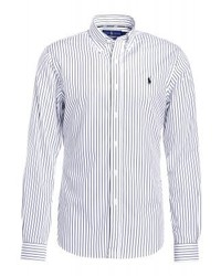 Chemise à manches longues à rayures verticales blanche Ralph Lauren