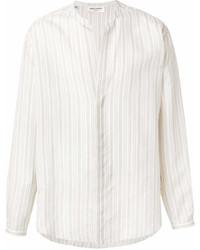 Chemise à manches longues à rayures verticales blanche Saint Laurent