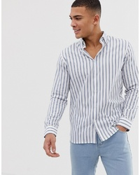 Chemise à manches longues à rayures verticales blanche Selected Homme