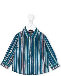 Chemise à manches longues à rayures verticales bleu canard Paul Smith