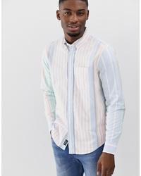 Chemise à manches longues à rayures verticales bleu clair Abercrombie & Fitch