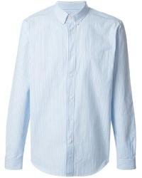 Chemise à manches longues à rayures verticales bleu clair Ami