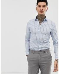 Chemise à manches longues à rayures verticales bleu clair ASOS DESIGN