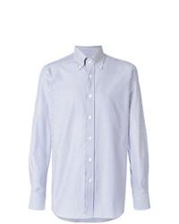 Chemise à manches longues à rayures verticales bleu clair Bagutta