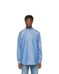 Chemise à manches longues à rayures verticales bleu clair Balenciaga