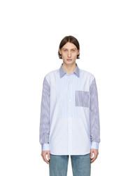 Chemise à manches longues à rayures verticales bleu clair Burberry