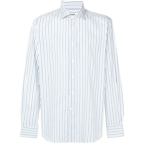 Chemise à manches longues à rayures verticales bleu clair Corneliani