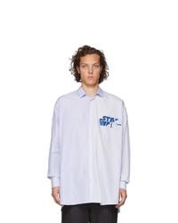 Chemise à manches longues à rayures verticales bleu clair Etro