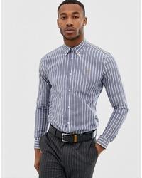 Chemise à manches longues à rayures verticales bleu clair Farah Smart