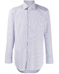 Chemise à manches longues à rayures verticales bleu clair Finamore 1925 Napoli