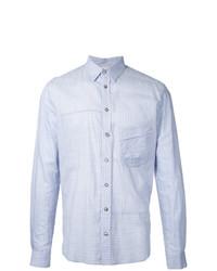 Chemise à manches longues à rayures verticales bleu clair Forme D'expression