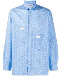 Chemise à manches longues à rayures verticales bleu clair Gcds