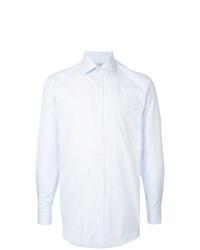 Chemise à manches longues à rayures verticales bleu clair Gieves & Hawkes