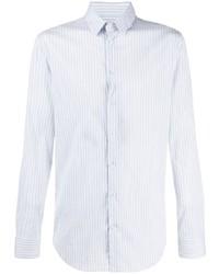 Chemise à manches longues à rayures verticales bleu clair Giorgio Armani