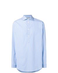 Chemise à manches longues à rayures verticales bleu clair Gucci
