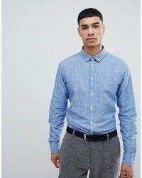 Chemise à manches longues à rayures verticales bleu clair Jefferson