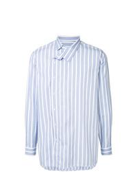 Chemise à manches longues à rayures verticales bleu clair Jil Sander