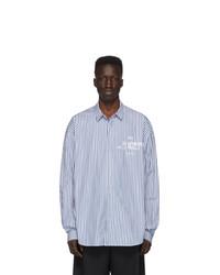 Chemise à manches longues à rayures verticales bleu clair Juun.J