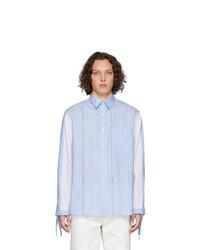 Chemise à manches longues à rayures verticales bleu clair JW Anderson