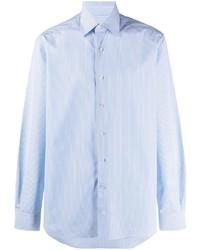Chemise à manches longues à rayures verticales bleu clair Lanvin