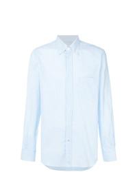 Chemise à manches longues à rayures verticales bleu clair Loro Piana