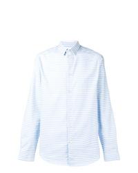 Chemise à manches longues à rayures verticales bleu clair Natural Selection