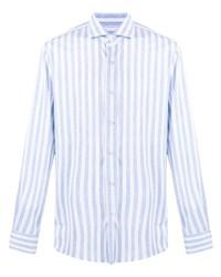 Chemise à manches longues à rayures verticales bleu clair Orian