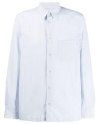 Chemise à manches longues à rayures verticales bleu clair Paul Smith