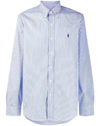 Chemise à manches longues à rayures verticales bleu clair Polo Ralph Lauren