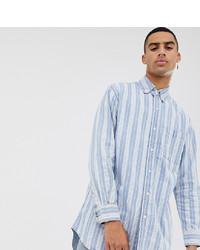 Chemise à manches longues à rayures verticales bleu clair Sixth June