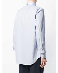 Chemise à manches longues à rayures verticales bleu clair Canali