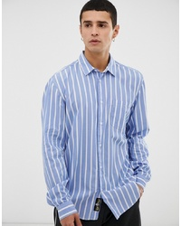 Chemise à manches longues à rayures verticales bleu clair Tiger of Sweden Jeans