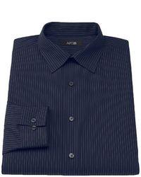 Chemise à manches longues à rayures verticales bleu marine