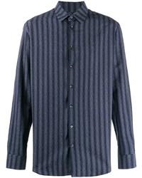 Chemise à manches longues à rayures verticales bleu marine Giorgio Armani