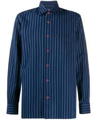 Chemise à manches longues à rayures verticales bleu marine Kiton