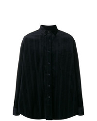 Chemise à manches longues à rayures verticales bleu marine Martine Rose