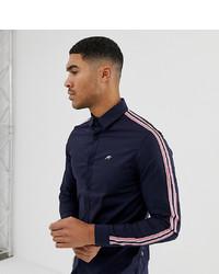 Chemise à manches longues à rayures verticales bleu marine Mauvais