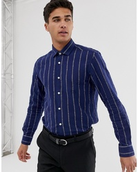Chemise à manches longues à rayures verticales bleu marine MOSS BROS