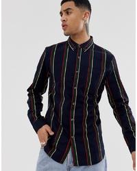 Chemise à manches longues à rayures verticales bleu marine New Look