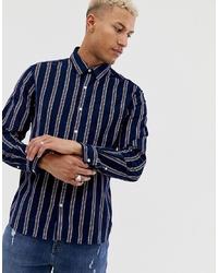 Chemise à manches longues à rayures verticales bleu marine Pull&Bear